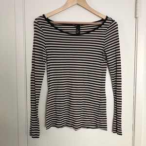 H&M scoop neck black and cream striped shirt